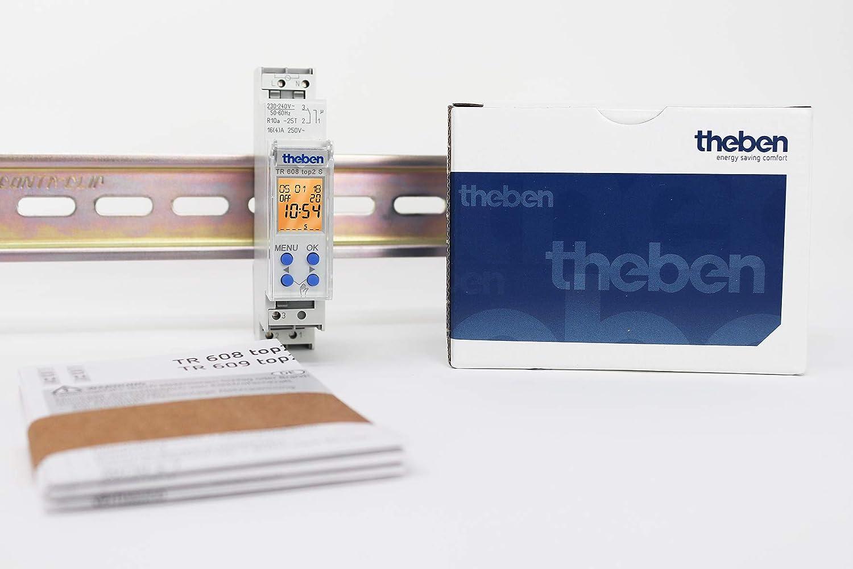1 Canal Theben 6080101 56 memorias de programaci/ón Interruptores horarios Digitales con programaci/ón semanal TR 608 top2 S TR 608 top2 S Carril DIN