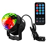 AKDSteel Party Light 3W Mini Disco Ball 7 Colors Sound Activated Strobe Lights Dj Stage Lamp with Remote Controller for Party, Festival, Bar, Club, Wedding, KTV, Outdoor