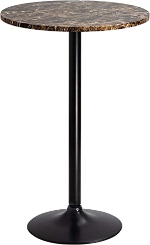 Furmax Bistro Pub Table Round Bar Height Cocktail Table Metal Base MDF Top Obsidian Table with Black Leg 23.8-Inch Top, 39.5-Inch Height Faux Marble