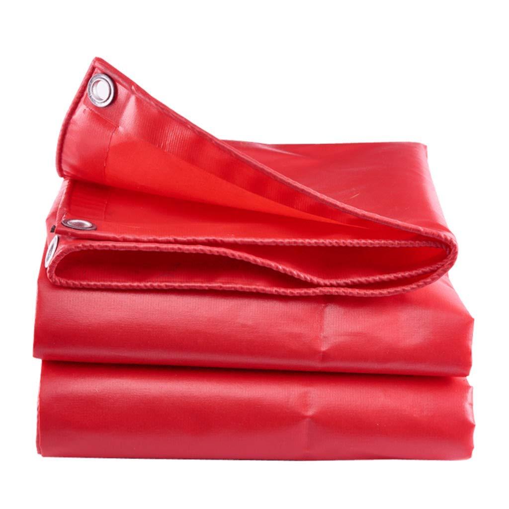 Showly PVC 600GSM Mehrzweck-Regenschutz- Und Sonnenschutzplanenblatt (rot)   Wasserdicht, Strapazierfähig   Abdeckung Für Zeltcamping, Hängematte, Pool, Garten, Auto, Motorrad, Stiefel 3  4m