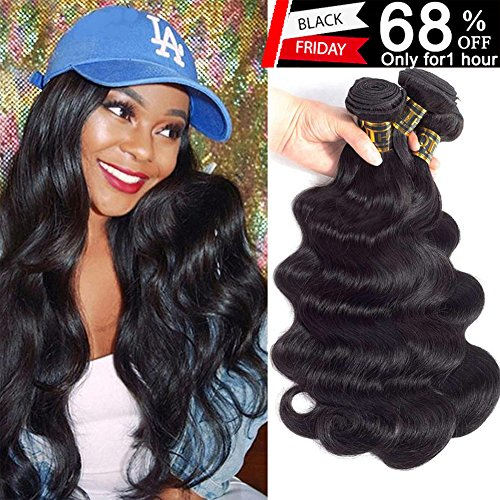 QTHAIR 10a Brazilian Virgin Hair Body Wave 4 bundles 20 22 24 26 inches 400g Unprocessed Brazilian Body Wave Human Hair Weave for Black Women Natural Color Tangle Free by QTHAIR