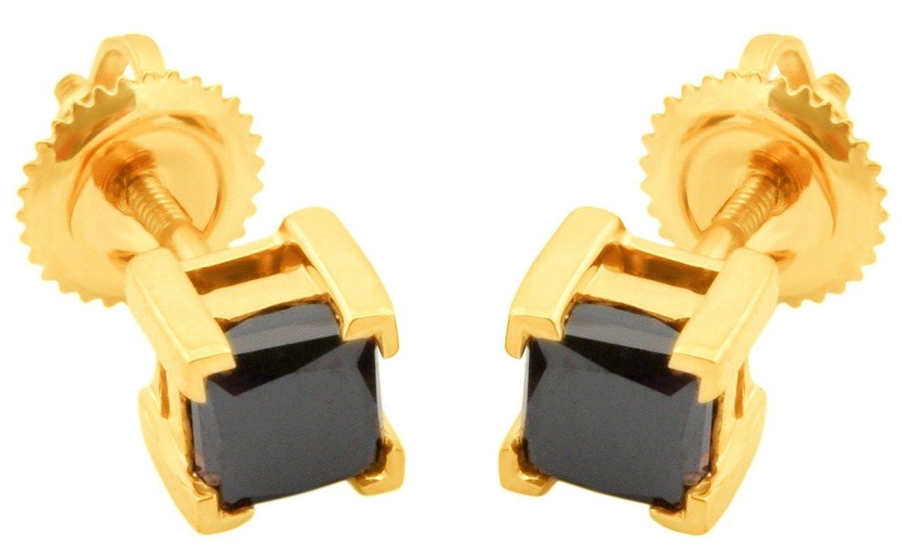 Prism Jewel 0.75Ct Princess Black Diamond Prong Set Screw Back Stud Earrings Yellow Gold Plated Silver