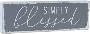 Parisloft Simply Blessed Script Wooden Box Sign, Inspirational Wood Sign, Freestanding or Wall Hanging Decor, Farmhouse Home Decor, Gray White