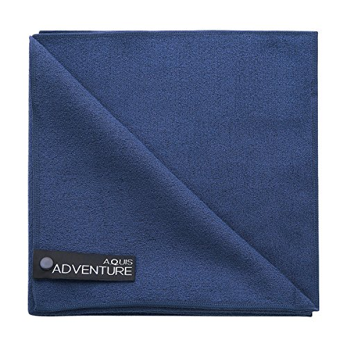 Aquis - Adventure Microfiber Sports Towel, Quick-Drying Comfort Great For Gym, Travel or Camping Towel, Blueberry (Large/19 x 39 Inches) (Lisse Hair Towel)