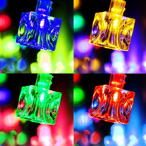 Battery Operated Ice Cube LED Christmas String Lights – Multi Color String Light, 2 Work Modes Battery Box, 7.3ft Length 20 Cubes for Christmas, Holiday, Party, Event Decorative Lighting by TORCHSTAR (Image #1)