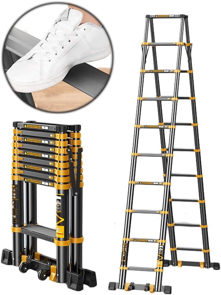 Escalera telescópica 3.9M + 3.9M / 13ft + 13ft Escalera De Techo Plegable De Aluminio Telescópica Negra para Escalera De Ático Home Loft, Escalera De Extensión con Barra De Soporte, Carga De