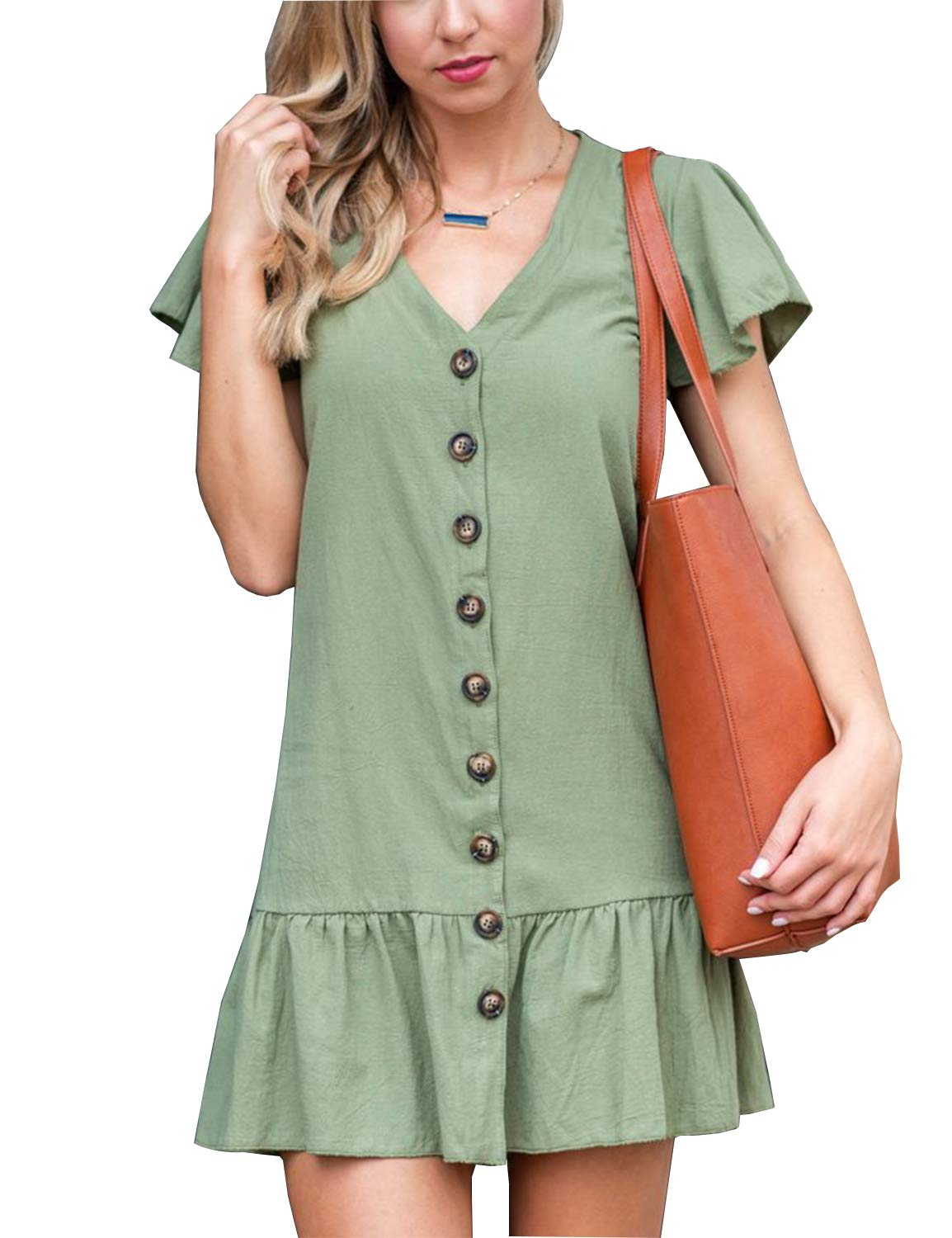 Blooming Jelly Women's V Neck Short Falbala Sleeve Button Down Mini Dress Green