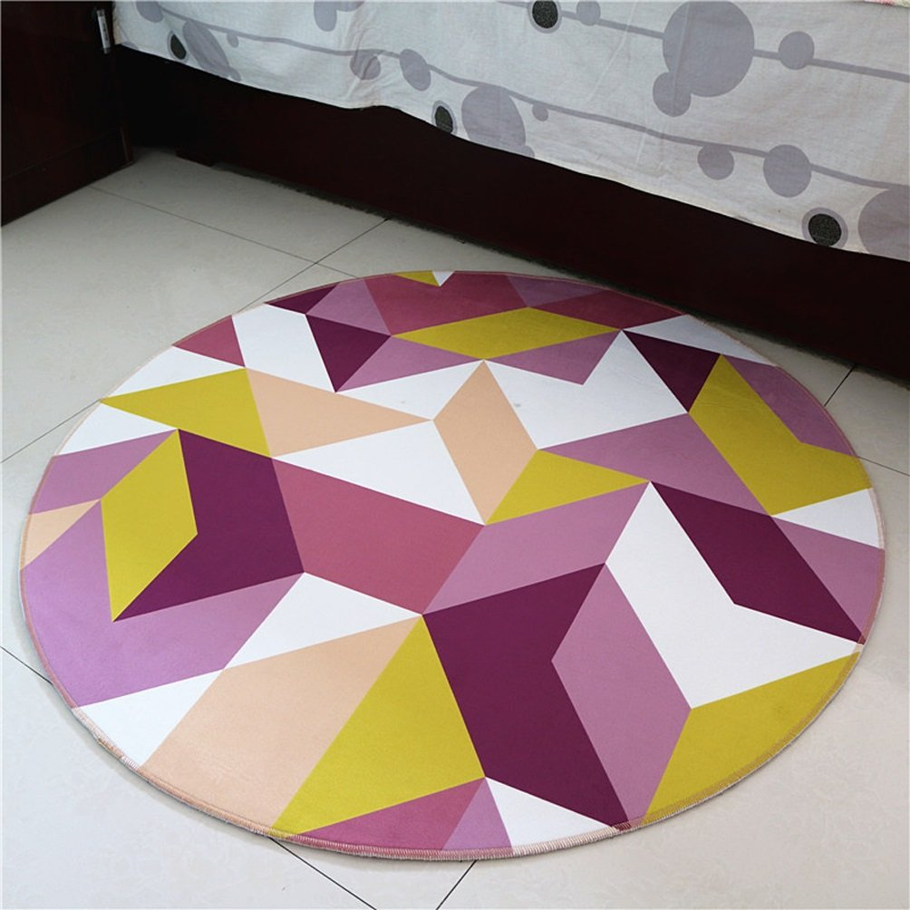 WAN SAN QIAN- Round Carpet Nordic Office Carpet Basket Swivel Chair Carpet Mats Children Bedroom Carpet Home Economy Rug Rug ( Color : B , Size : 160x160cm )
