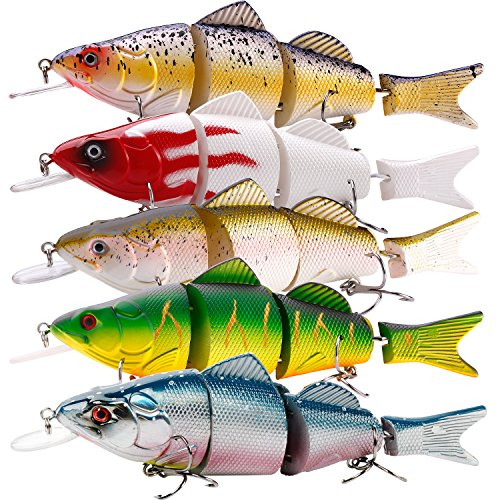 Musky Fishing Tackle - TROUTBOY Swimbait Fishing Lure Set, 4Pcs Multi Jointed Hard Lures Baits with ABS Plastic Fishing Tackle Box, for Saltwater Freshwater Bass Trout Walleye Salmon Musky Fishing (4Pcs Swimbait with Box)