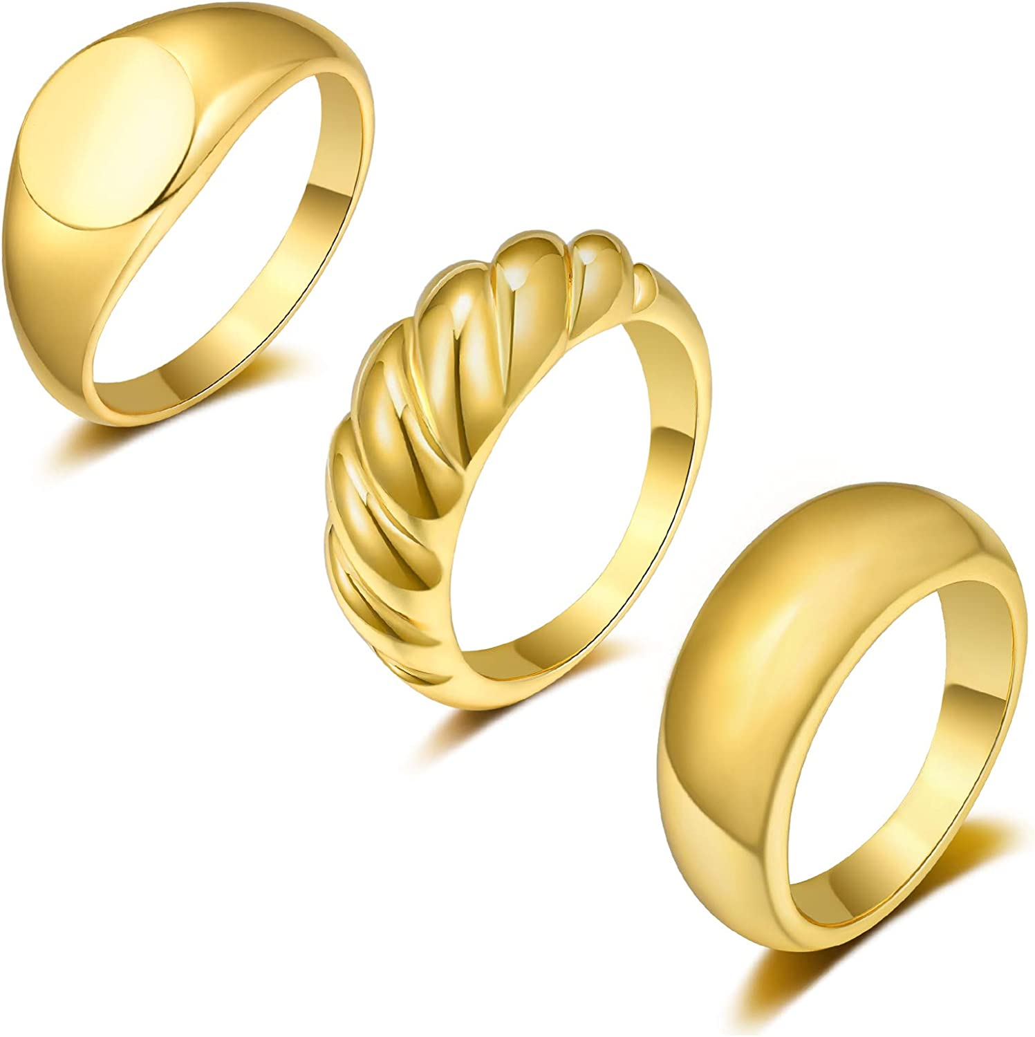 Sunssy 3PCS Dome Chunky Rings Thick Gold Rings for Women Girls Round Signet Rings Braided Twisted Signet Ring Jewelry Minimalist Statement Ring Size 5-9