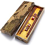 Chopsticks Reusable Chinese Style Wooden Dragon and Phoenix Chopsticks with Holder and Carrying Bag Chinese Gift Set Chopsticks Set(2 Pairs)
