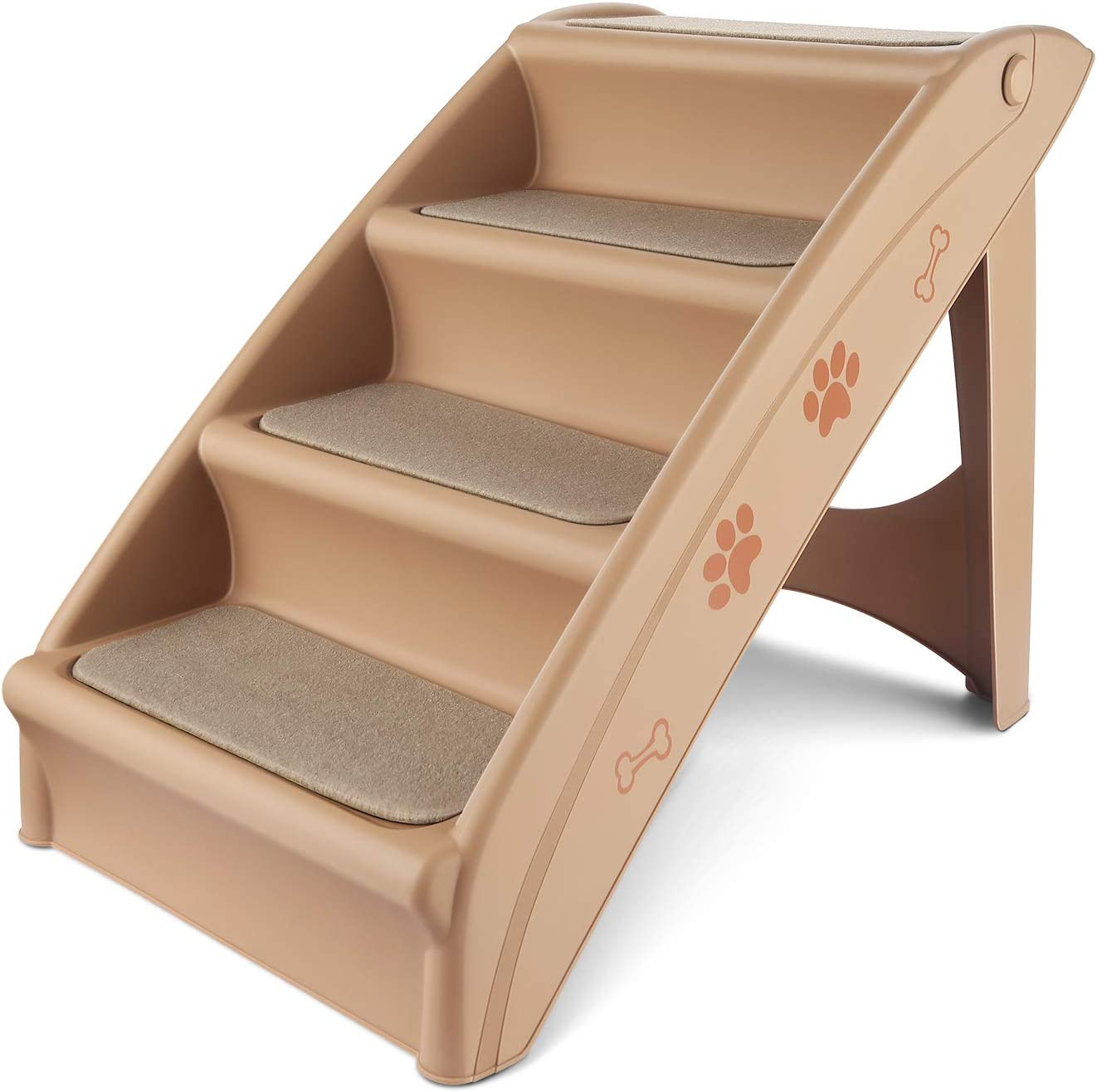 Flexzion Pet Stairs Folding Dog Cat Animal Step Ramp Ladder Foldable Plastic Portable for Tall Bed Indoor Outdoor Decor Supply Easy Store in Beige : Pet Supplies
