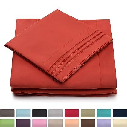 California King Bed Sheets   Burnt Orange Luxury Sheet Set   Deep Pocket    Super Soft