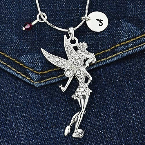 (Personalized Tinkerbell Fairy Pendant Sparkling Crystals Custom Necklace Hand Stamped Initial Letter and Birthstone Charms Chain Gift Jewelry)