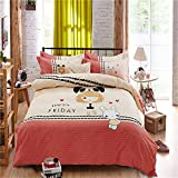 yeeKin 100% Cotton Bedding Sets 4pcs Queen/Full Size Pink/Beige Printed Girls Rabbit Pattern Quilt/Duvet Cover