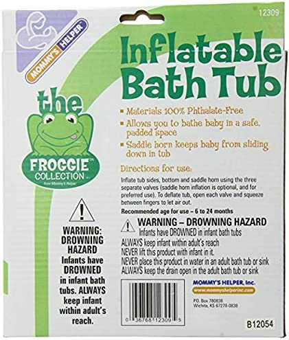 Inflatable Bath Tub Froggie Collection, White/Green, 6-18 Months