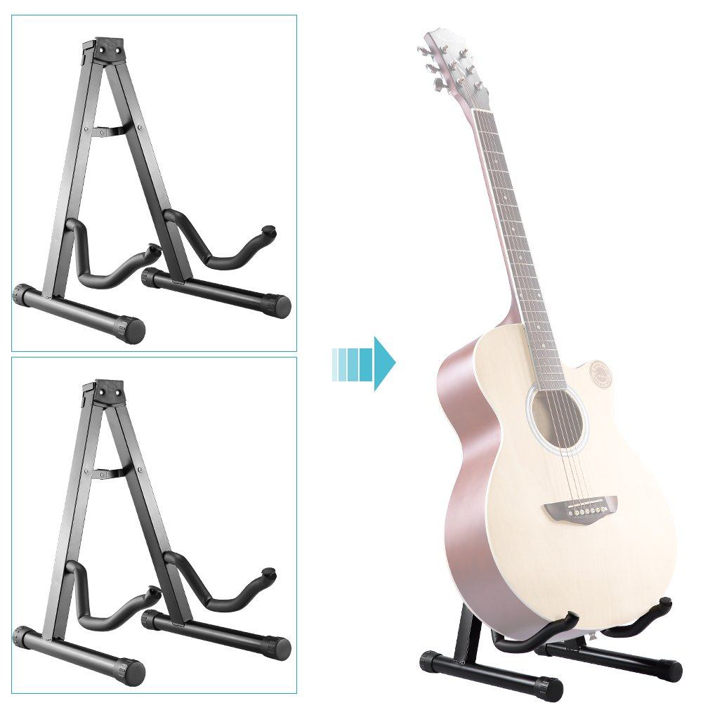 Neewer/® Two Pieces Universal Portable Folding A-Frame Electric Guitar Floor Stand Stable Musical Instrument Stand Iron Black