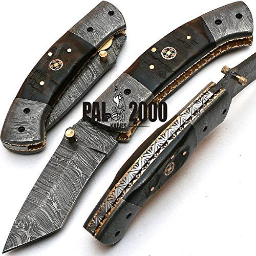 Custom Handmade Damascus Steel Hunting Folding Pocket Knife -Sword/Chef Kitchen Knife/Dagger/Full Tang/Skinner/Axe/Billet/Cleaver/Bar/Bowie/Kukri/knives accessories/survival/Camping With Sheath ()