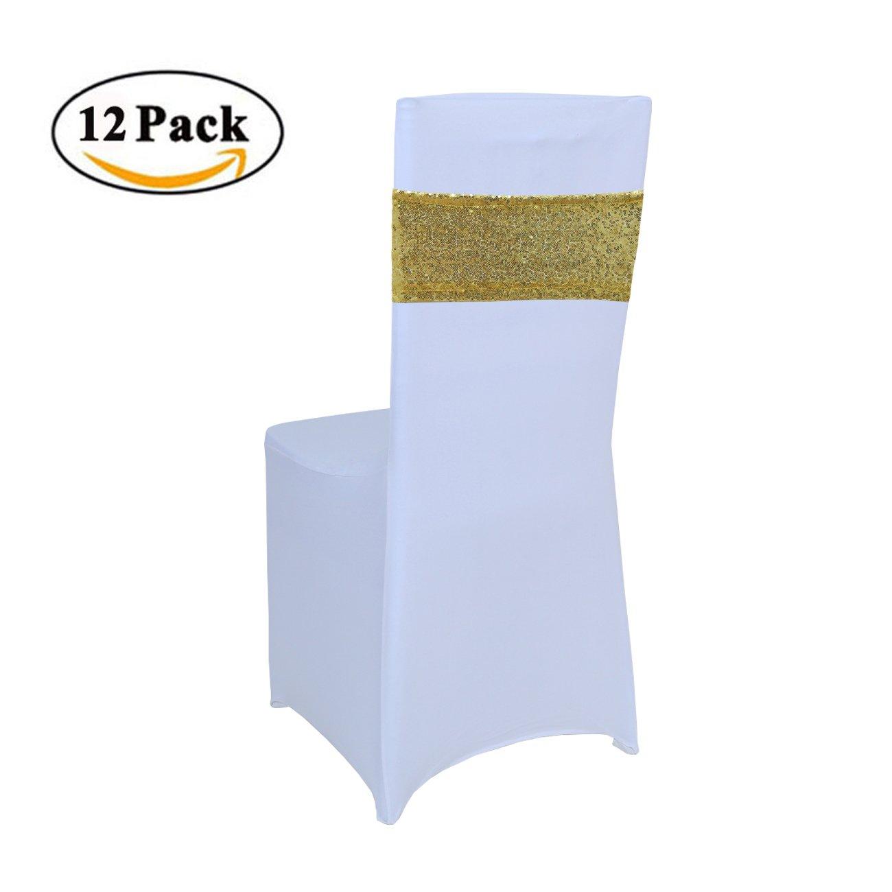 gfccのセット50個ホワイト色スパンデックス椅子カバーは、結婚式、パーティー、宴会、クリスマスiexcl; 4x16
