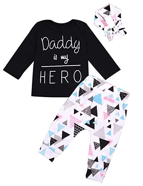 a408203fe Newborn Infant Baby Girls Daddy is My Hero Long Sleeve T-Shirt Tops  Geometric Triangle