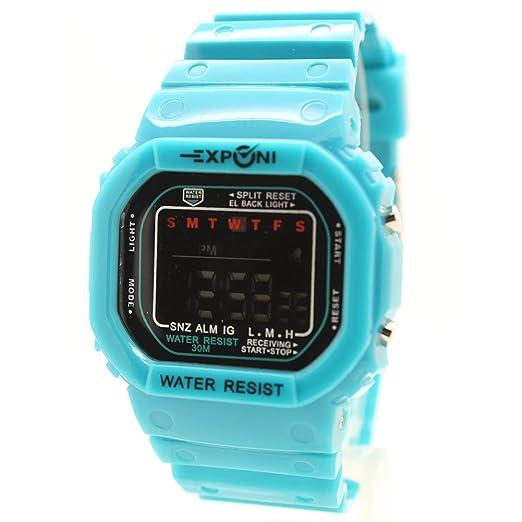 besttime exponi Square reloj digital luminoso azul correa de caucho color Unisex adultos & niños