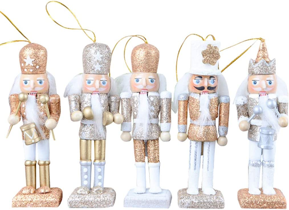 """FORSHE Christmas Nutcracker Ornaments Set, Wooden Nutcracker Figures Soldier Puppet Toy for Christmas Themed Party Outdoor Yard Tree Hanging Decoration,5 Pack,5"""" Tall"""