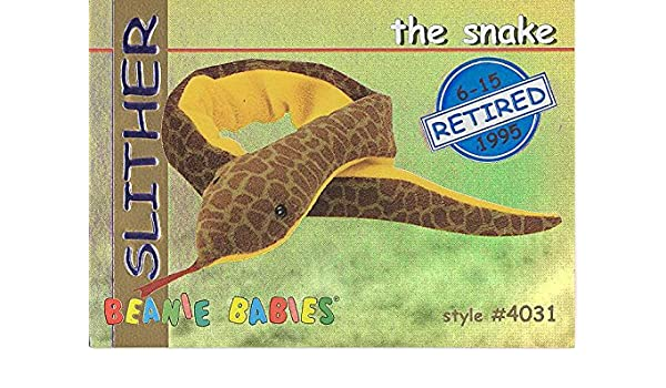 Amazon.com  TY Beanie Babies BBOC Card - Series 1 Retired (BLUE) - SLITHER  the Snake  Toys   Games 4295d0d0c8fc
