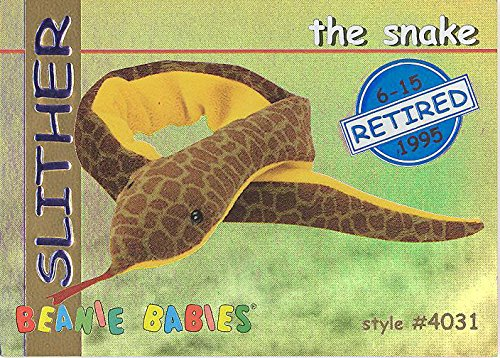 TY Beanie Babies BBOC Card - Series 1 Retired (BLUE) - SLITHER the Snake