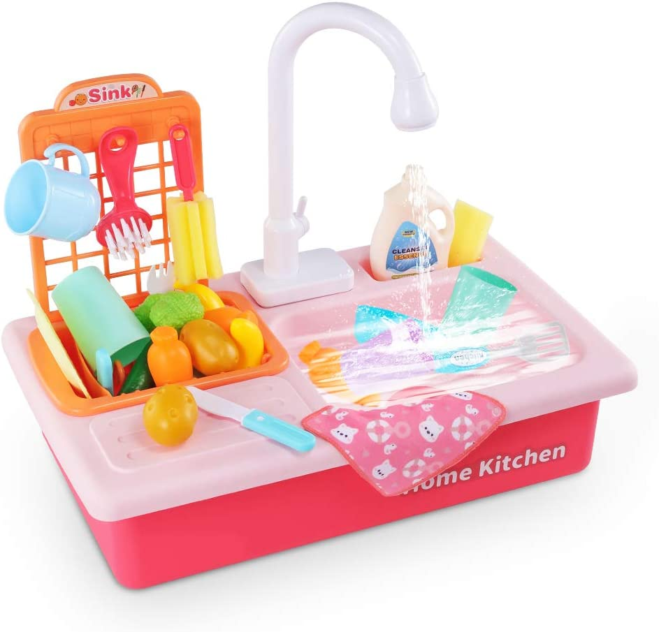Temi Kitchen Sink Toy Pretend Food - Wash Up Kitchen Sets with Running  Water for Kids Playhouse Accessories Indoor Outdoor Playset for Boys Girls