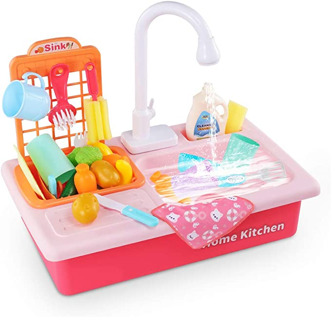 Amazon Com Temi Kitchen Sink Toy Pretend Food Wash Up Kitchen Sets With Running Water For Kids Playhouse Accessories Indoor Outdoor Playset For Boys Girls Toddler Red Toys Games
