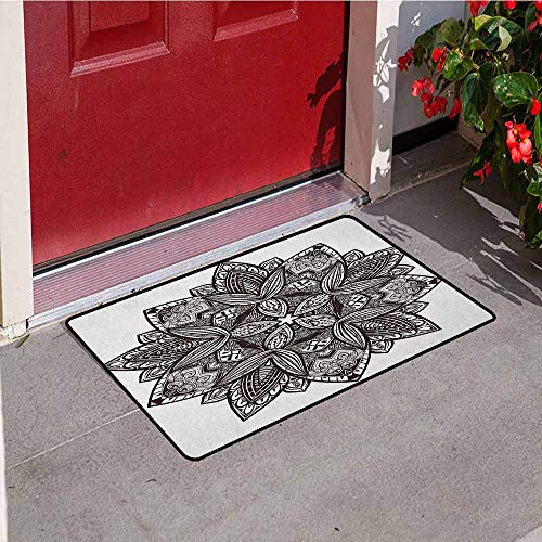 Gloria Johnson Lotus Front Door mat Carpet Ethnic Paisley Mandala Tribal Oriental Style Vintage Tattoo Artistic Pattern Machine Washable Door mat W19.7 x L31.5 Inch Seal Brown White