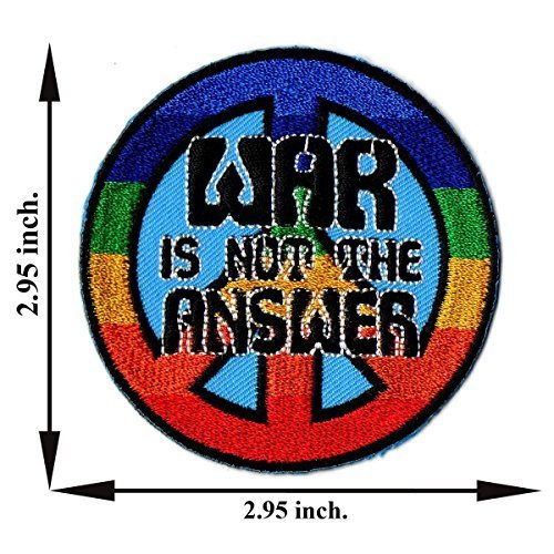 War Is Not The Answer Peace Rainbow Vintage Sign Symbol Iron-on Patch Embroidered Sew T-shirt Hat