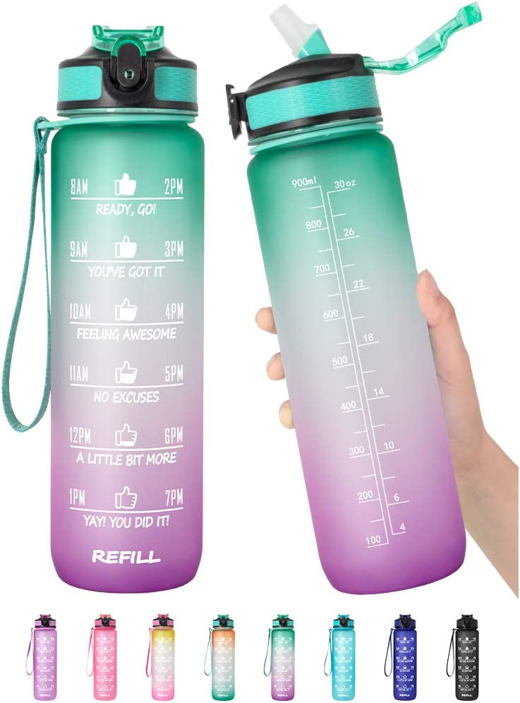 32 oz Motivational Water Bottle with Time Marker & Straw - BPA Free & Leakproof Tritian Frosted Portable Reusable Fitness Sport 1L Water Bottle for Men Women Kids Student to Office School Gym Workout