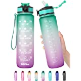 32 oz Motivational Water Bottle with Time Marker & Straw - BPA Free & Leakproof Tritian Frosted Portable Reusable Fitness Spo