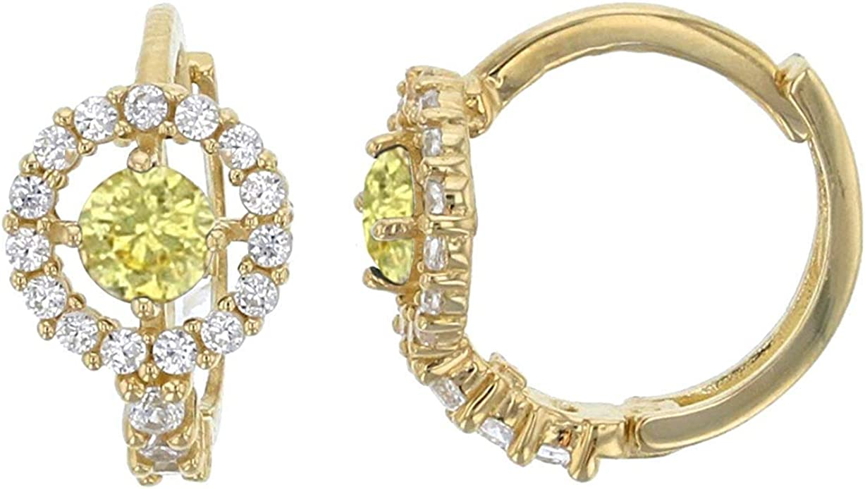 14K Yellow Solid Gold Micropave 6.5mm Round Halo AAA Cubic Zirconia Huggie Earrings   5 Colors: Emerald, Pink, Red, Sapphire and Yellow   6.5x10mm   Solid Gold Huggie Earrings for Women and Girls