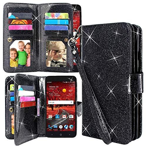 ZTE Blade Spark Z971 Case, ZTE Grand X4 Z956 Case, Harryshell 12 Card Slots Kickstand Shockproof PU Leather Wallet Flip Protective Case Cover Wrist Strap for ZTE ZMax One Z719DL (Glitter Black) ()