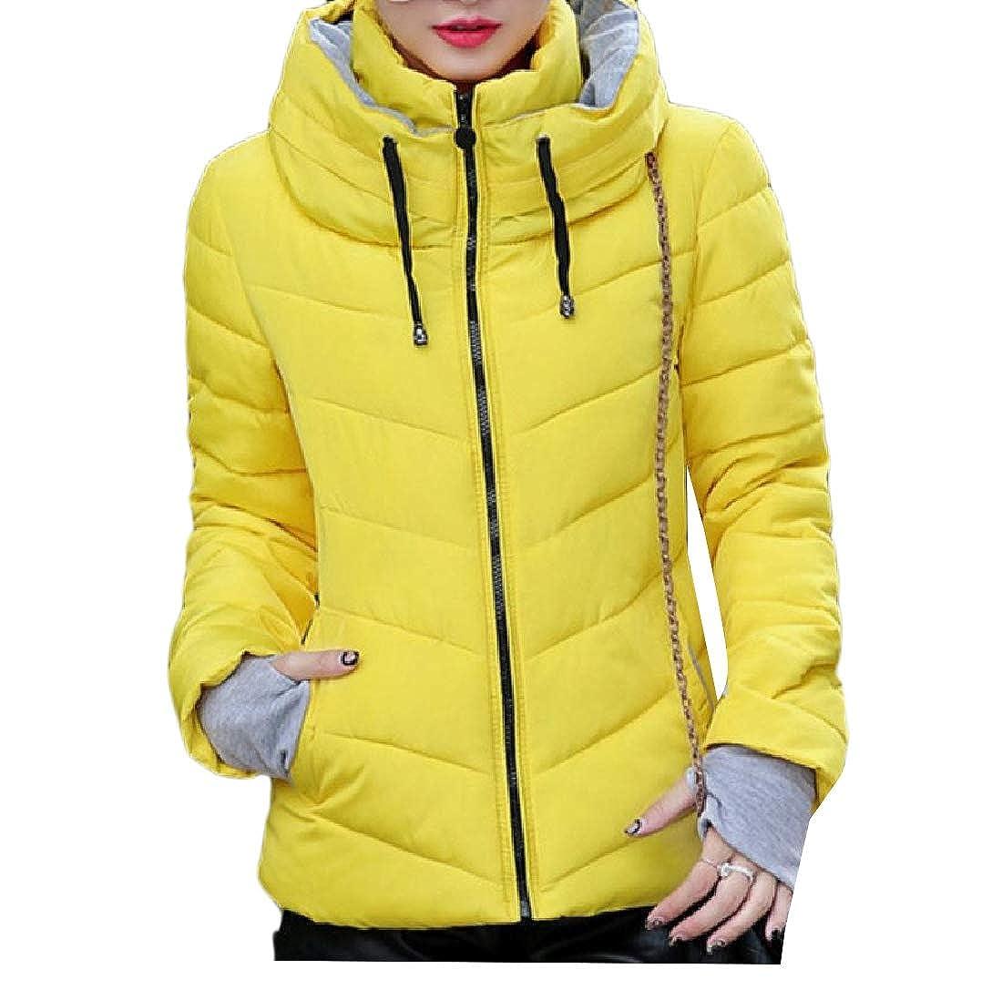 YUNY Womens Outwear Puffer Packable Light Weight Thicken Down Coat Yellow 2XL