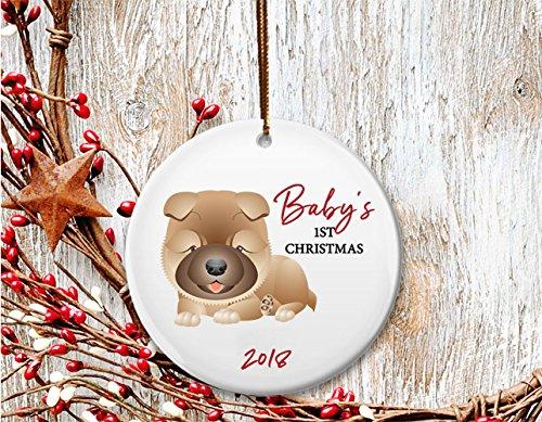 New Dog mom Christmas ornament, Baby's 1st Christmas, Chow puppy- Dated 2018 (Chow Christmas Ornament)