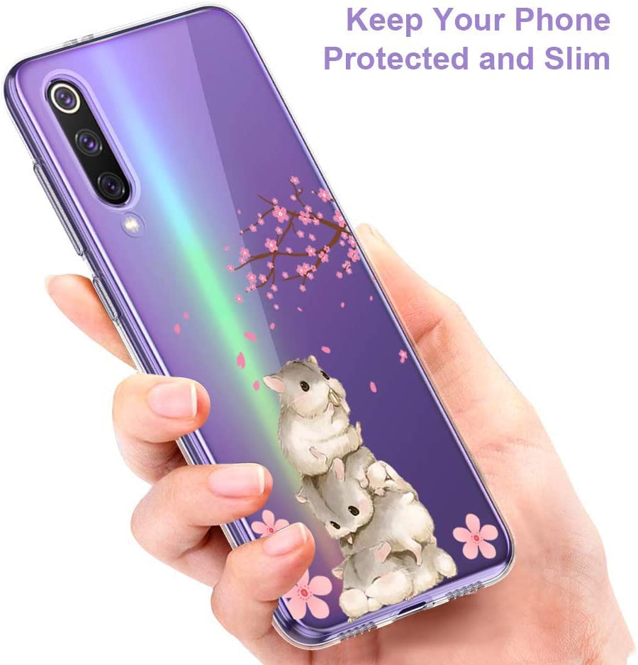 Suhctup Case Compatible con Xiaomi Redmi Note 7 Pro Funda Silicona Transparente Dibujos Diseño TPU Bumper Crystal Ultra Slim Antigolpes Protection Cárcasa Cover para Xiaomi Redmi Note 7 Pro,Flor 9 Flor 1