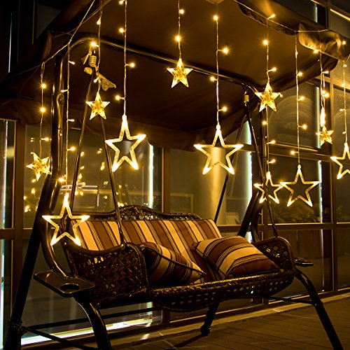 Star Curtain Lights 12 Stars 138 LEDs LEORX Window Curtain Lights Waterproof for New Year Wedding Party Home Bedroom Patio Garden Warm White