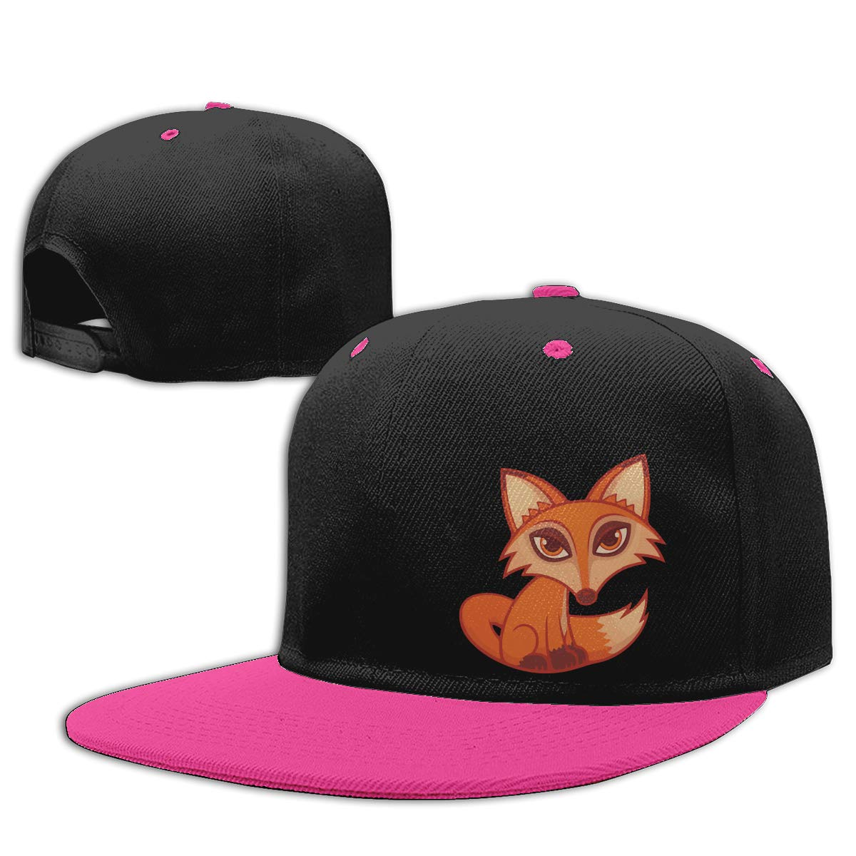 Men Womens Plain Cap Cartoon Red Fox Adults Flat Brim Baseball Caps