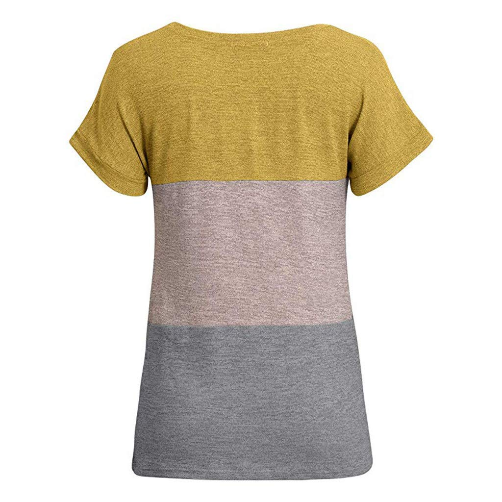 Photno Womens Long//Short Sleeve Color Block Blouse Sweatshirt Casual Loose Cutout Round Neck Tunic T Shirt Tops