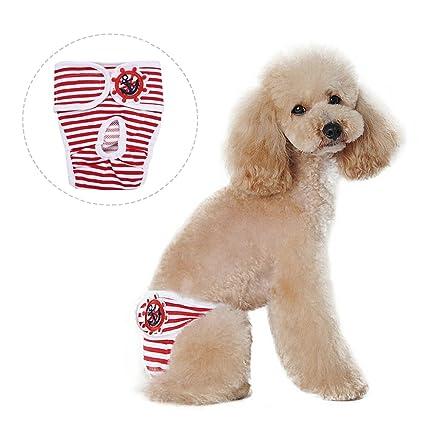 Yunt - Pañales para perro, cómodos, de algodón, a rayas, para perros