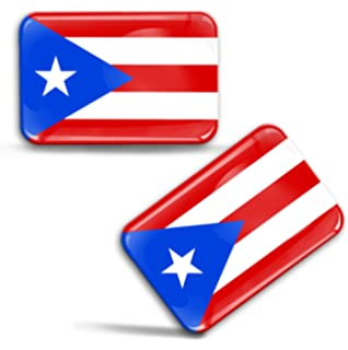 Puerto Rico Flag Domed Decal Emblem Resin car stickers 5x 0.82 2pc.