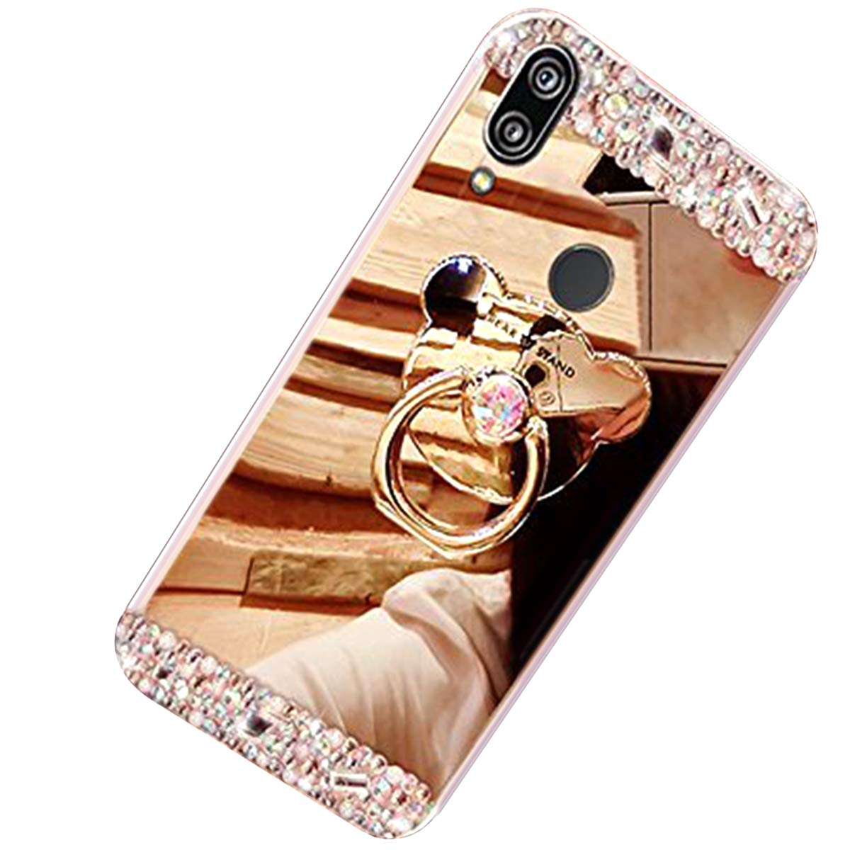 Huawei P20 case, Huawei P20 Mirror Case, Huawei P20 Glitter Case Cover, Felfy Glitter Makeup Mirror Effect Luxury Crystal Rhinestone [Anti-Scratch]+[Abrasion Resistance]+[Drop Protection] with Bear Back Ring Holder Bling Shiny Bumper Skin Protective Cover