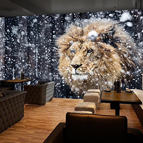 3D Snowflakes Lion Animals 42 Wall Paper Wall Print Decal Wall Deco Indoor wall Murals Removable Wall Mural | Self-adhesive Large Wallpaper , AJ WALLPAPER Carly ()