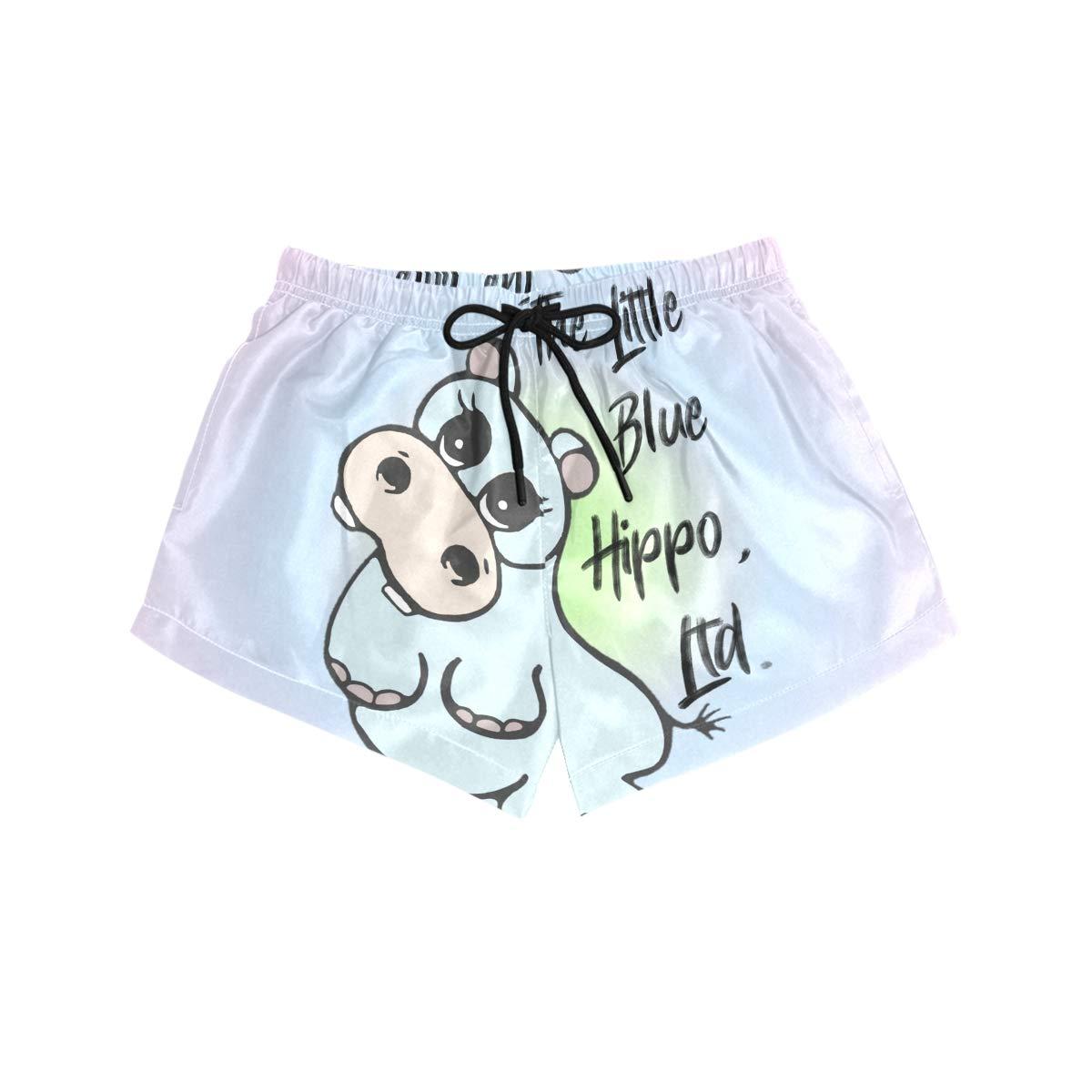 NWTSPY Little Hippo Womens Sport Beach Swim Shorts Board Shorts Swimsuit with Mesh Lining