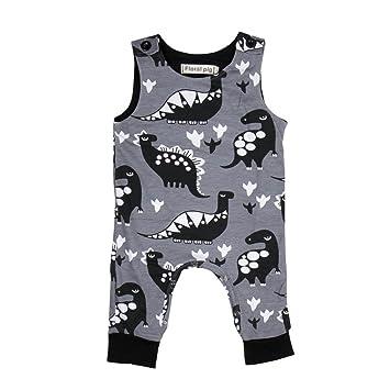 Ropa para bebé recién nacido, pelele de verano con diseño de dinosaurios de dibujos animados, sin mangas, mono para bebés, gris, 0/3 Meses: Amazon.es: ...