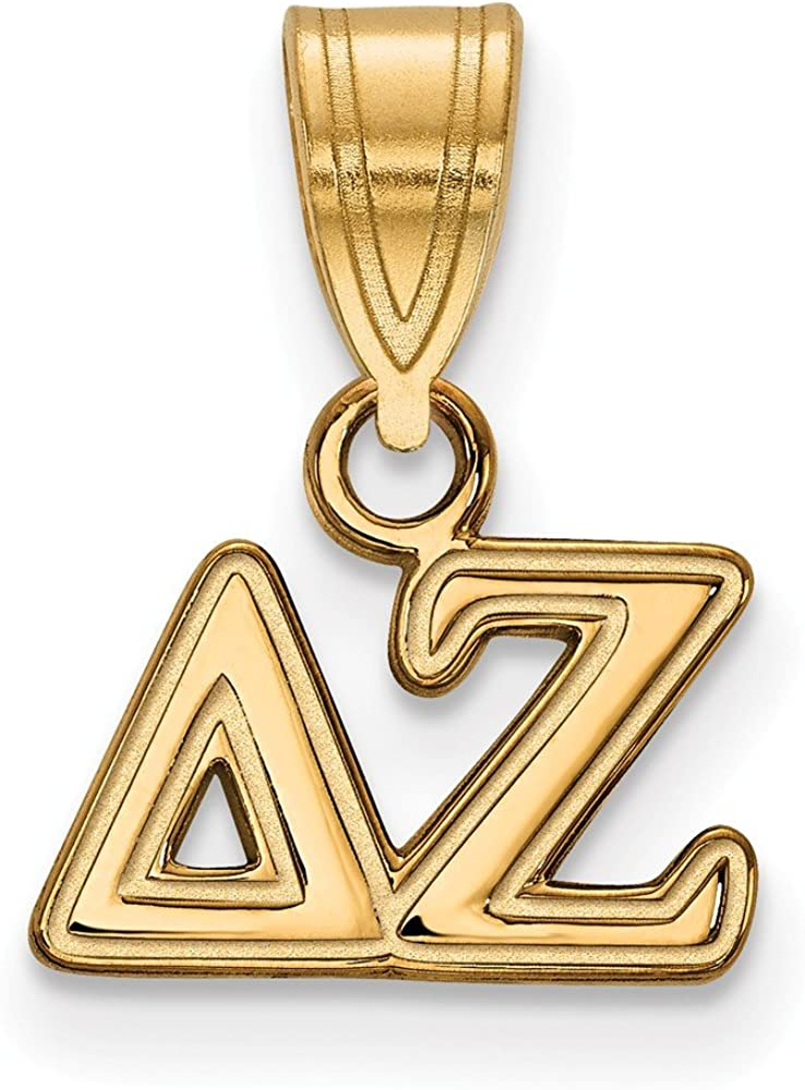 925 Sterling Silver Yellow Gold-Plated Official Delta Zeta Small Pendant Charm 13mm x 12mm
