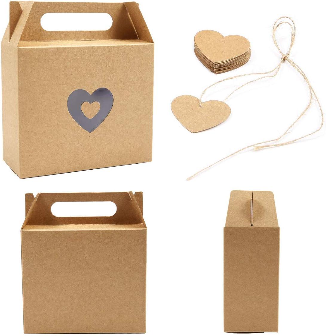 bolsas creativas con cord/ón de yute y etiquetas de coraz/ón dulces cumplea/ños SurePromise Kraft Paper Box One Heart 25 cajas de regalo de papel kraft para bodas fiestas